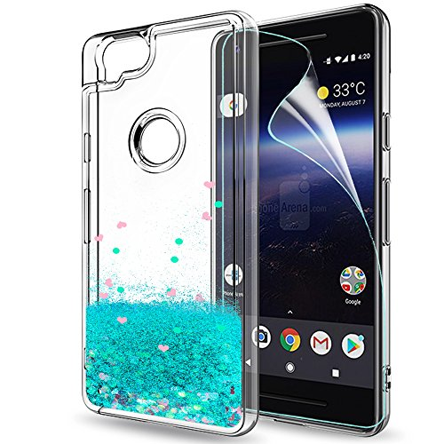 Pixel 2 Case,Google Pixel 2 Case with HD Screen Protector for Girls Women,LeYi Cute Bling Shiny Moving Quicksand Liquid Glitter TPU Protection Phone Case for Google Pixel 2 (2017) ZX Turquoise
