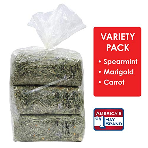 Kaytee Timothy Hay Flavor Variety Multi Pack, Spearmint, Marigold, Carrot, 4.5 lb