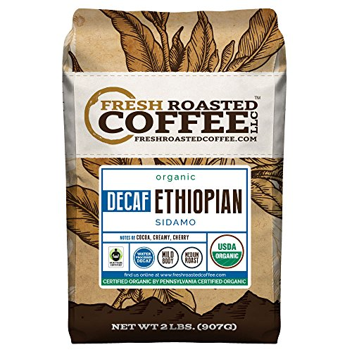 Ethiopian Sidamo Water Processed Decaf FTO Coffee, Whole Bean, Fresh Roasted Coffee LLC (2 lb.)