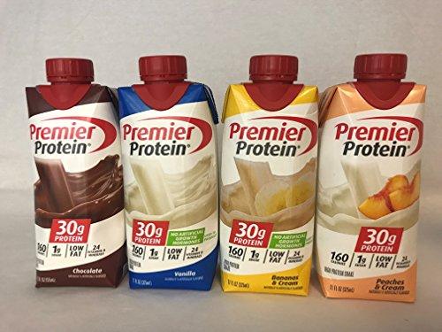Premier Protein High Protein Shakes - 3 Chocolate, 3 Vanilla, 3 Bananas & Cream, 3 Peaches & Cream (11 fl. oz, 12 pack) -