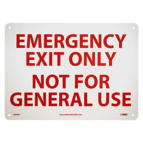 "NMC M45RB Emergency and First Aid, Legend""EMERGENCY EXIT ONLY NOT FOR GENERAL USE"", 14"" Length x 10"" Height, Rigid Polystyrene Plastic, Red on White"