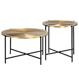 Tuduo Set Tavoli 2 pz in MDF Rivestimento in Ottone Design Unico, Moderno e Elegante Tavolo consolle Ingresso