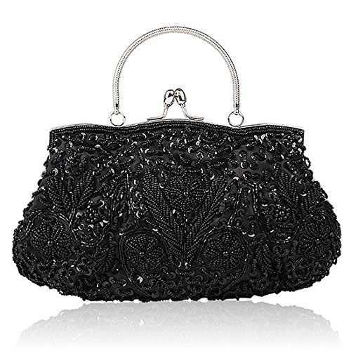 Collection Antique Floral Seed Bead Sequin Soft Clutch Evening Bag Designer Purse Large Clutch Handbag Black