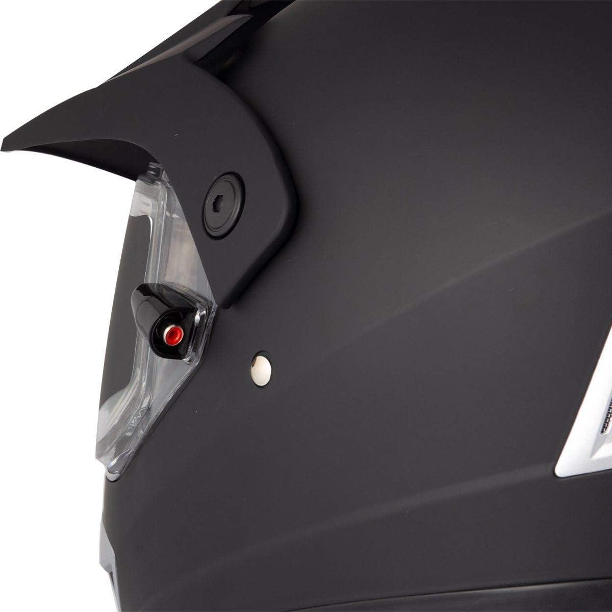 Ultra Light Weight Snow Master TX-45 Flat Black Dual Sport Snowmobile Helmet Large
