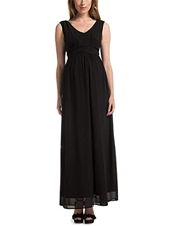 58e63d2ebb9 Noppies Robe de soirée pour Femmes Robe Fourreau Robe de Grossesse à  Volants Robe de Cocktail Femmes Mode de Grossesse 40172 - Noir (Noir)