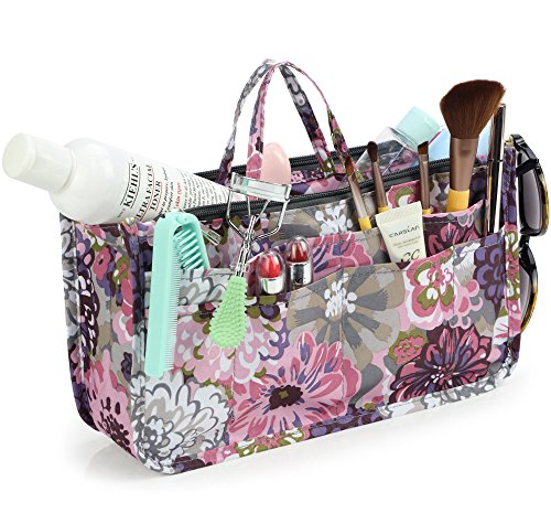 Cosmetic Bag for Women Cute Printing 14 Pockets Expandable Makeup Organizer Purse with Handles (Peony)