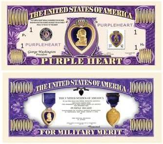 "UNITED STATES /""USA PURPLE HEART/"" FOR MILITARY MERIT DOLLAR BILL"