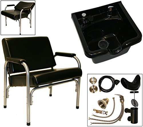 LCL Beauty Super Heavy Duty Shampoo Package: Autorecline Shampoo Chair & ABS Shampoo Bowl