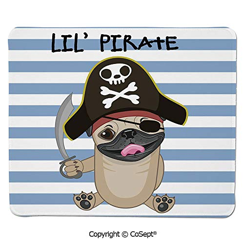 Gaming Mouse Pad,Buccaneer Dog in Cartoon Style Costume Holding Sword Lil Pirate Striped Backdrop,Water-Resistant,Non-Slip Base,Ideal for Gaming (7.87