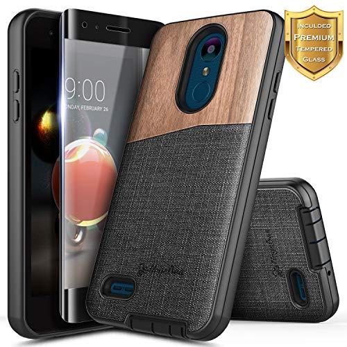 LG Aristo 3 /Aristo 2/Aristo 2 Plus/Tribute Dynasty/Empire/Zone 4/Rebel 3-4 LTE/Phoenix 4/Fortune 2/Risio 3/K8 2018/K8 Plus/K8S w/[Tempered Glass Screen Protector], NageBee Premium Natural Wood Case
