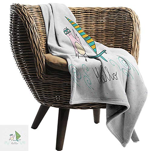 Baby Blanket Hello Summer Inspiration with Hand Drawn Bird and Windsurf Board Cartoon Style Portable Car Travel Cover Blanket 91