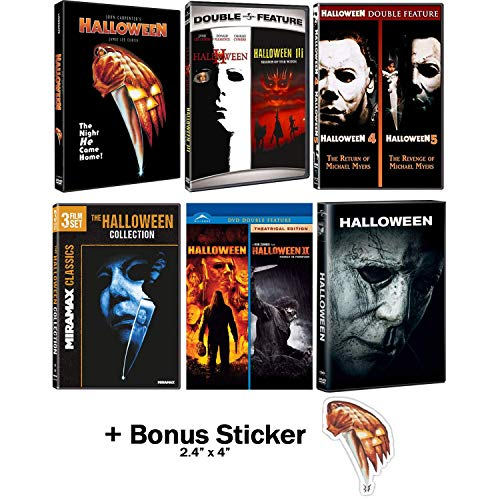 Halloween: Ultimate 11 Movie Collection: Complete Original + Rob Zombie Remakes + 2018 Sequel DVD Series + Bonus Sticker