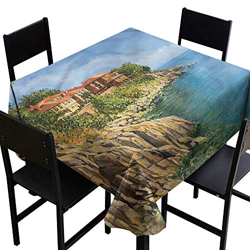 Seascape Resistant Table Cover Tranquil Summer Bulgaria Party Decorations Table Cover Cloth 50 x 50 Inch ()