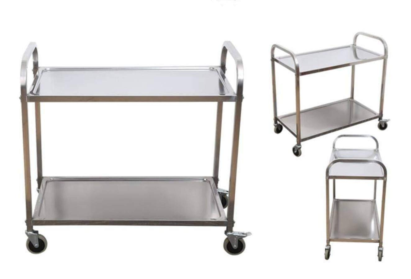 Stainless Steel 2-Shelf Utility Service Storage Cart For Restaurant Catering Hotel Kitchen 400 lb. Capacity Stainless Steel Cart 37.4x20x37.4''