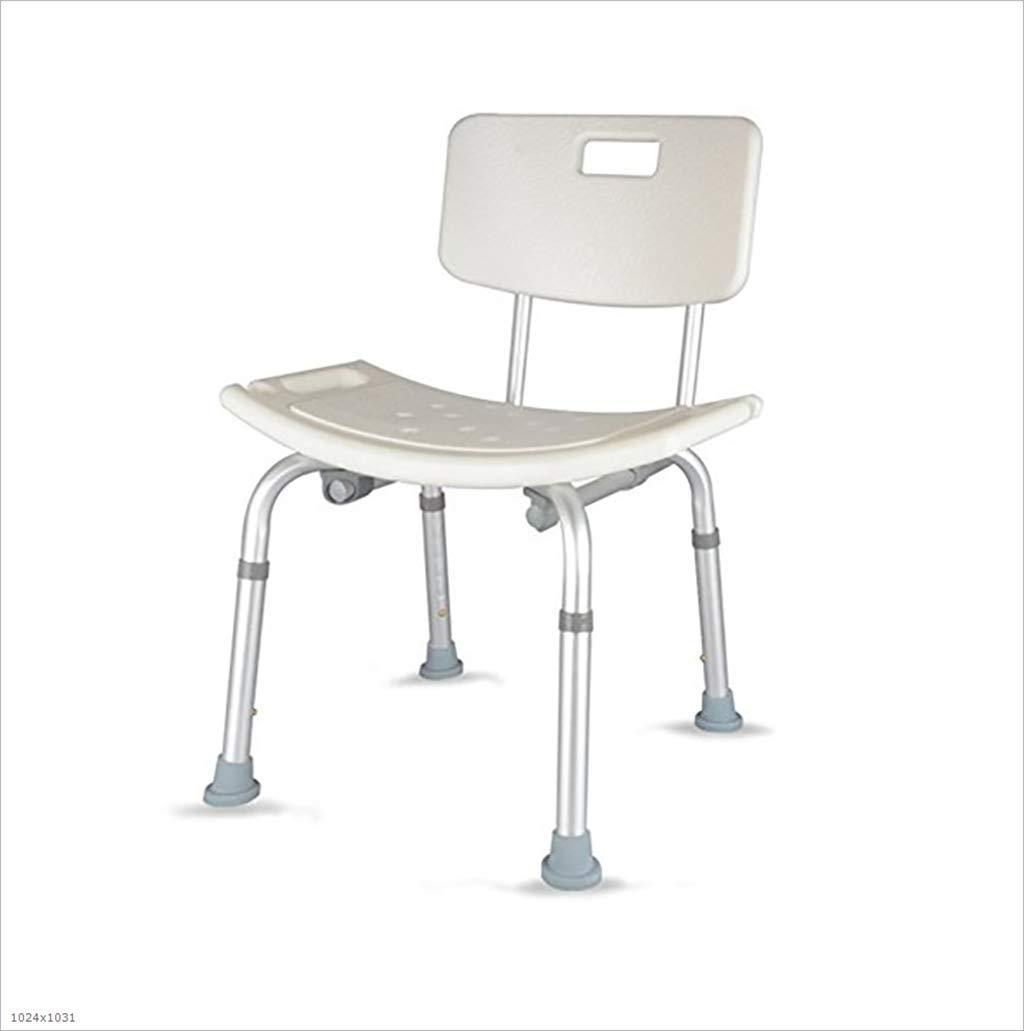 シャワー/バスタブスツールアルミ合金シャワーシートチェア障害補助カーテンシートシャワーチェア背もたれとハンドル白で調節可能な高さ   B07GM52JT1