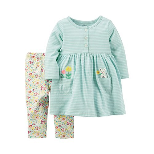 Carter's Girls' Infant and Toddler 2-Piece Long Sleeve Dress With Leggings (Pocket Of Flowers, 12 Months)