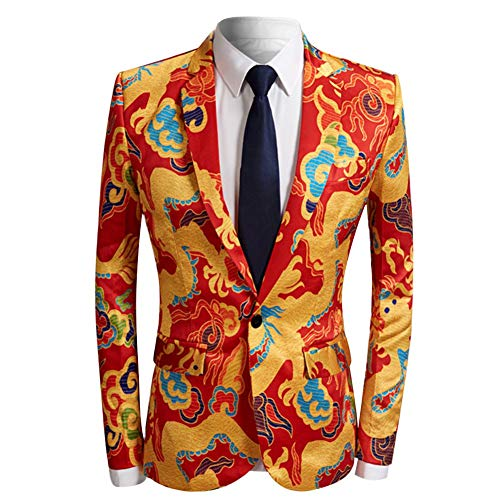 (Men's Fashion Slim Fit Casual Print One Button Suit Jacket Blazer (Yellow&Red, XX-Large))