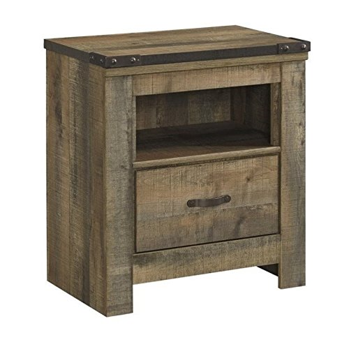 Ashley Furniture Signature Design - Trinell Warm Rustic Nightstand - Casual Master Bedroom End Table - Brown