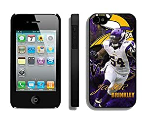 NFL&Minnesota Vikings Jasper Brinkley iPhone 4 4S Case Gift Holiday Christmas Gifts cell phone cases clear phone cases protectivefashion cell phone cases HLNB605584029