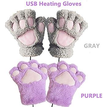 2 Pair DECVO Winter Powered Warmer Thicken Paw Fingerless USB Heated Gloves Plush Cold-Proof Knitted Half Finger Laptop Mittens USB Warm Paw Gloves for Women Teen Girls Best Winter Gift (Gray+Purple)