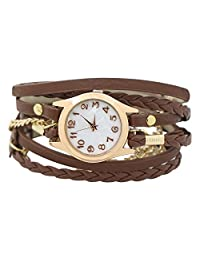 Charming Vintage Weave Wrap Leather Chain Bracelet Watch for Womens Ladies Brown