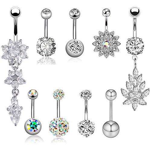 JDXN 6-8PCS 14G Stainless Steel Belly Button Rings CZ Pineapple Dangling Dangle Navel Ring Body Piercing (9PCS/Set Silver)