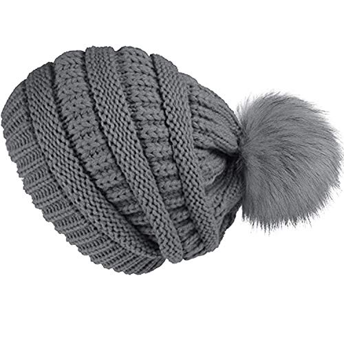 f9148db3a92 Double Couple Womens Beanie Hat with Pom Pom Winter Knit Hats Thick Slouchy  Skull Cap