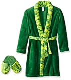 Too Cool 2 Sleep Little Boys' Toddler Camo Robe with Slippers, Green, 2T