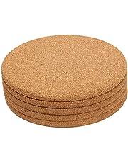 "5 Pack Cork Trivet Set - Round Corkboard Placemats Kitchen Hot Pads for Hot Pots, Pans, and Kettles, 7""Diameter"