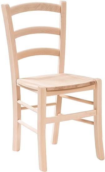 Sedie In Legno Grezzo.Biscottini Sedia In Legno Massello Di Faggio Grezzo Con Seduta In Legno L45xpr45xh88 Cm Made In Italy