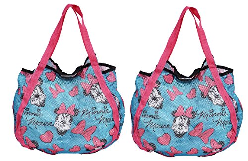 Disney Mickey and Minnie Mouse Mesh Hobo Beach Totes (2 Pack both Blue)