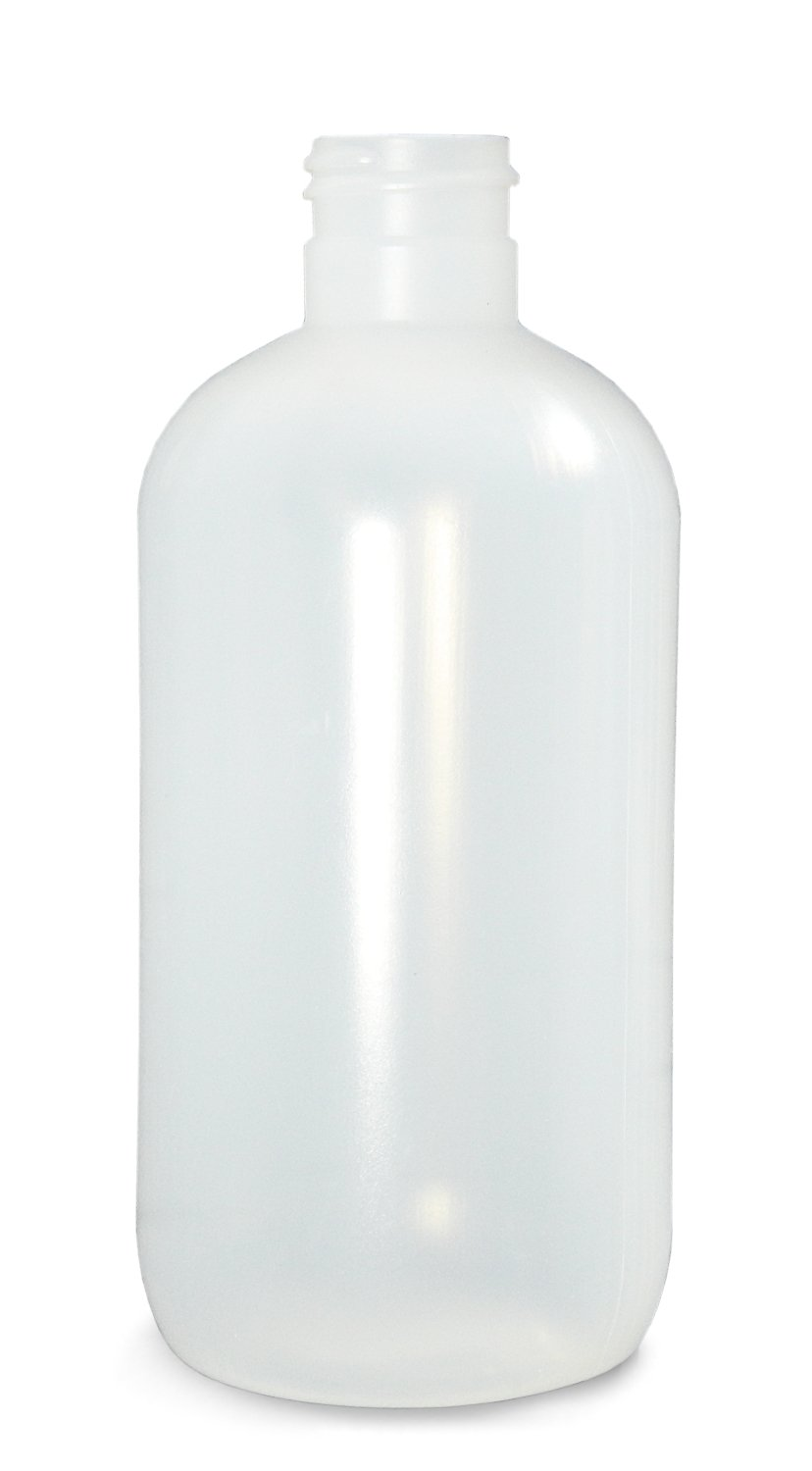 Qorpak PLA-03337 Natural LDPE Boston Round Bottle with 28-400 Neck Finish Case of 140 16oz Capacity 79mm OD x 154mm Height
