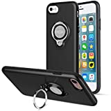 iPhone 8 Case, iPhone 7 Case by ICONFLANG, 360 Degree Rotating Ring Kickstand Case Shockproof Impact Protection function Can work with Magnetic Car Mount case 2018 Black