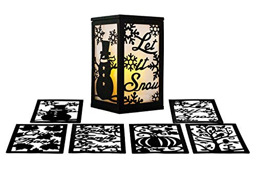 (ReLive Flameless 3 Season LED Lantern Includes Twelve Magnetic Seasonally Themed)