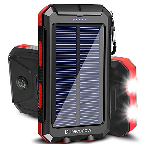 Solar Charger, Durecopow 20000mAh Portable Outdoor Waterproof Solar Power Bank, Camping External Backup Battery Pack…