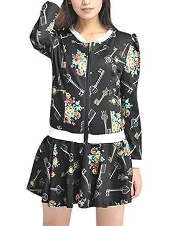 Lady Floral Key Pattern Casual Jacket w Elastic Waist Skort Black XS