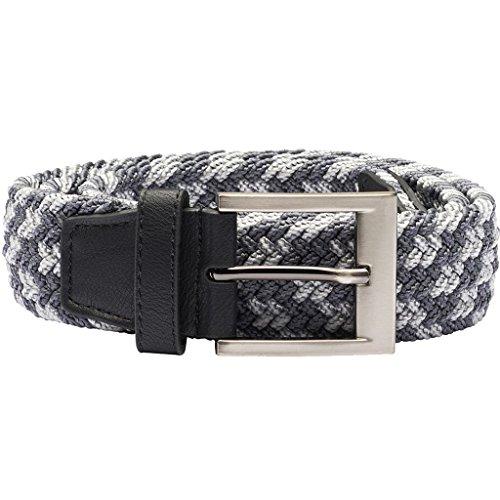 (adidas Golf 2018 Mens Braided Weave Stretch Golf Belt Black/Mid Grey S/M)