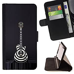 For LG Nexus 5 D820 D821 Guitar Black White Art Rock Music Style PU Leather Case Wallet Flip Stand Flap Closure Cover