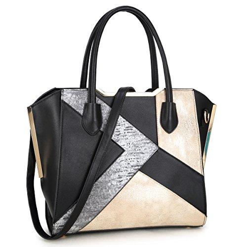 Dasein Women Snake Skin Handbags Vegan Leather Totes Patchwork Satchel Top-handle Bags with Long Shoulder Strap (6282-Black)