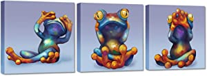 ZingArts 3 Panel Funny Animal Canvas Wall Art See Hear Speak No Evil Colorful Frog Painting on Canvas For Kids Room Bathroom Wall Decoration Stretched and Framed Ready To Hang 12x12inchx3pcs