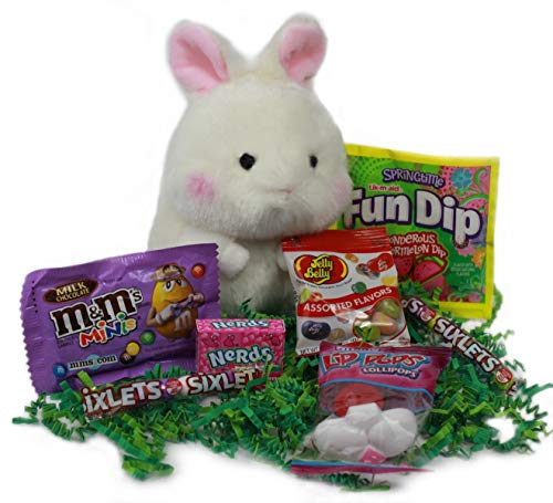 Premade Easter Gift Bag Ready for Easter Basket, Filled with Plush Toy & Candy, For Kids and Adults (8 items)