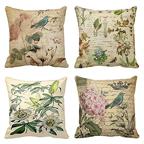 Emvency Set of 4 Throw Pillow Covers Paris French Botanical Floral Victorian Bird Rose Gardens Green Flower Decorative Pillow Cases Home Decor Square 18x18 Inches Pillowcases from Emvency