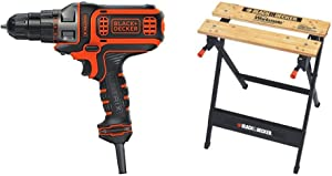 BLACK+DECKER Electric Drill, 3/8-Inch, 4-Amp with Workmate Portable Workbench, 350-Pound Capacity (BDEDMT & WM125)