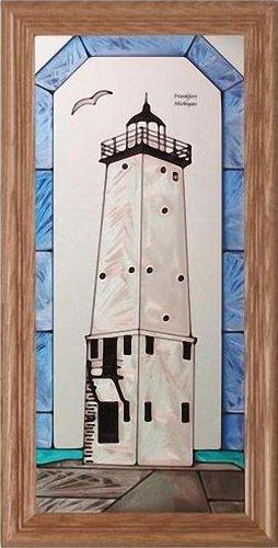 Eagle Harbor, Michigan LIGHTHOUSE Suncatcher Window 11x22 Glass Panel Framed