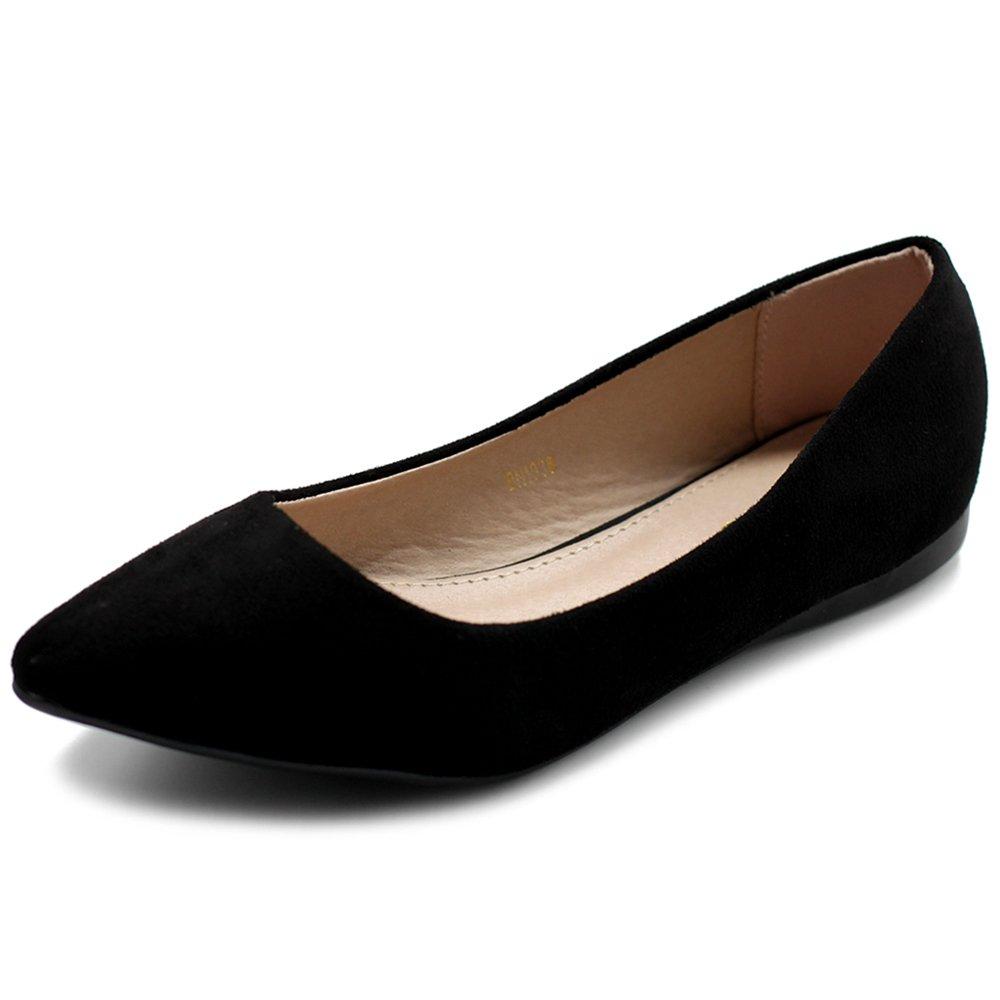 Ollio Women's Ballet Comfort Light Faux Suede Multi Color Shoe Flat ZM1038(7.5 B(M) US, Black)