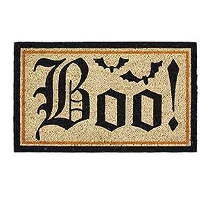 """DII Indoor/Outdoor Natural Coir Easy Clean Rubber Back Entry Way Doormat For Patio, Front Door, All Weather Exterior Doors, 18 x 30"""" - Halloween Boo"""