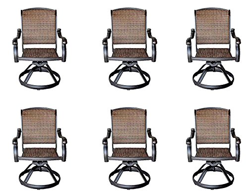Sunvuepatio Santa Clara Cast Aluminum Set of 6 Swivel Rocker Patio Dining Chairs