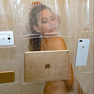 iPad Mount Clear Shower Curtain Liner Tablet or Phone Holder Waterproof 8 Gauge EVA 72x72 Bathroom
