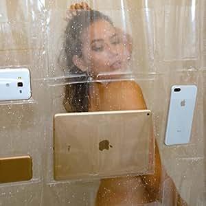 iPad  Mount Clear Shower Curtain Liner Tablet or Phone Holder Waterproof 8 Gauge EVA 72x72 Bathroom