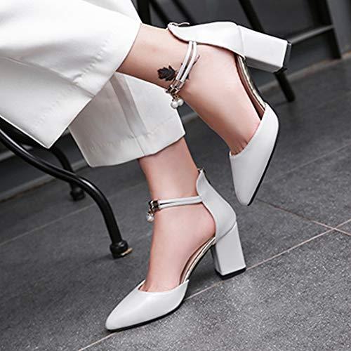 Dames Zipper Femme Blanc Hauts Ningsanjin Pour Sexy À Escarpins Chaussures Pointues Talons Talon Simples 1xgBxTq
